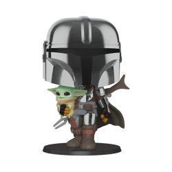 "FUNKO POP STAR WARS MANDALORIAN 10"" HOLDING THE CHILD"