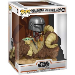FUNKO POP STAR WARS Deluxe: The Mandalorian - Mando on Bantha with Child in Bag (416) CAJA