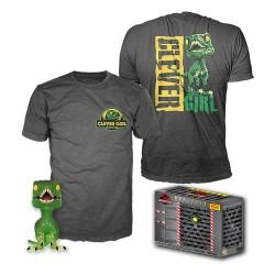 Jurassic Park POP! & Tee Set de Minifigura y Camiseta Clever Raptor