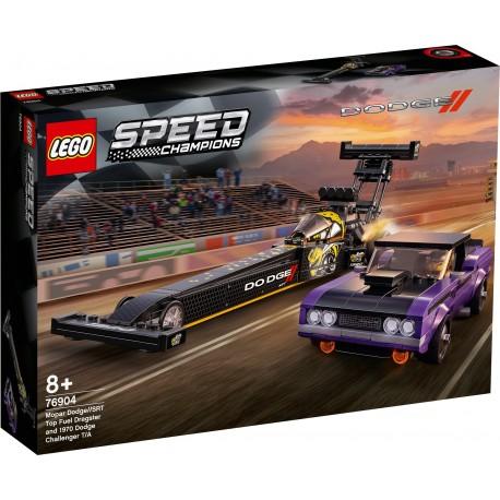 LEGO SPEED CHAMPIONS 76904 Drágster Mopar Dodge//SRT Top Fuel y Dodge Challenger T/A de 1970