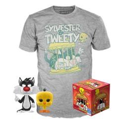 Looney Tunes POP! & Tee Set de Minifigura y Camiseta Sylvester & Tweety Talla S